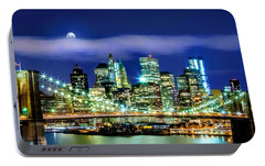 Watching Over New York Portable Battery Charger by Az Jackson