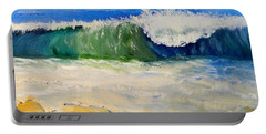 Watching The Wave As Come On The Beach Portable Battery Charger by Pamela  Meredith