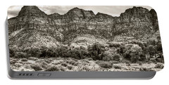 Portable Battery Charger featuring the photograph Watchman Trail In Sepia - Zion by Tammy Wetzel