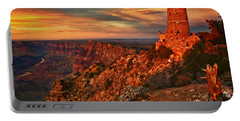 Watchtower Sunset Portable Battery Charger by Priscilla Burgers