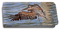 Portable Battery Charger featuring the photograph Water Ballet - Brown Pelican by HH Photography of Florida