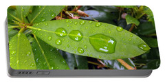 Water Droplets On Leaf Portable Battery Charger