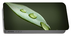 Water Drops On Green Leaf Portable Battery Charger