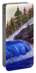 Portable Battery Charger featuring the painting Water Fall By Rocks by Brenda Brown