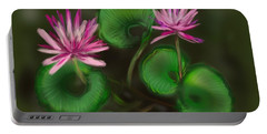 Portable Battery Charger featuring the digital art Water Lilies by Christine Fournier