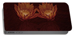 Water Lilies In Deep Sepia Portable Battery Charger