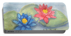 Water   Lillies  Portable Battery Charger by Pamela  Meredith