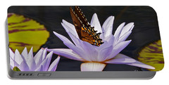 Water Lily And Swallowtail Butterfly Portable Battery Charger