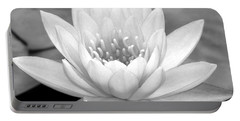 Water Lily In Black And White Portable Battery Charger