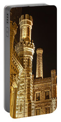 Water Tower At Night Portable Battery Charger by Daniel Sheldon
