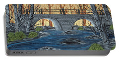 Portable Battery Charger featuring the painting Water Under The Bridge by Brenda Brown