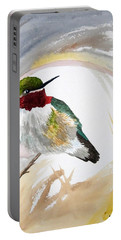 Portable Battery Charger featuring the painting Watercolor - Broad-tailed Hummingbird by Cascade Colors