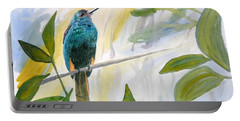 Portable Battery Charger featuring the painting Watercolor - Jacamar In The Rainforest by Cascade Colors