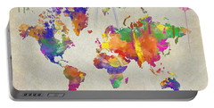 Watercolor Impression World Map Portable Battery Charger