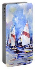 Watercolor Of Scow Boats Racing Torch Lake Mi Portable Battery Charger