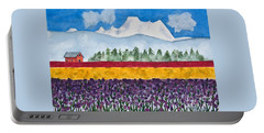 Watercolor Painting Landscape Of Skagit Valley Tulip Fields Art Portable Battery Charger