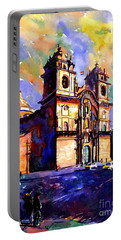 Watercolor Painting Of Church On The Plaza De Armas Cusco Peru Portable Battery Charger