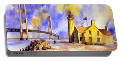 Watercolor Painting Of Ligthouse On Mackinaw Island- Michigan Portable Battery Charger