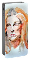 Portable Battery Charger featuring the painting Watercolor Portrait Of A Mad Redhead by Greta Corens