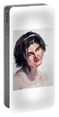 Watercolor Portrait Of A Young Pensive Woman With Headband Portable Battery Charger