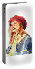 Portable Battery Charger featuring the painting Watercolor Portrait Of An Old Lady by Greta Corens