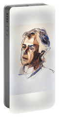 Portable Battery Charger featuring the painting Watercolor Portrait Sketch Of A Man In Monochrome by Greta Corens