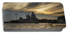 Portable Battery Charger featuring the photograph Watercolor Sky Over Venice Italy by Georgia Mizuleva