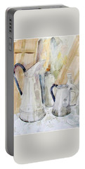 Watercolor Still Life Of White Cans Portable Battery Charger