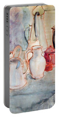 Watercolor Still Life With Red Can Portable Battery Charger