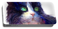 Watercolor Tuxedo Tubby Cat Portable Battery Charger