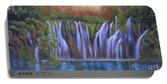 Portable Battery Charger featuring the painting Waterfalls - Plitvice Lakes by Vesna Martinjak