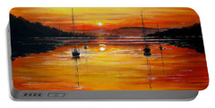 Watery Sunset At Bala Lake Portable Battery Charger