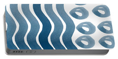 Waves And Pebbles- Abstract Watercolor In Indigo And White Portable Battery Charger