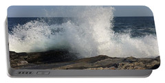 Waves Crashing On Rocky Maine Coast Portable Battery Charger