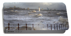 Waves On The Slipway Portable Battery Charger by Spikey Mouse Photography