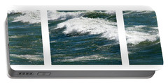 Waves Triptych Ll Portable Battery Charger by Michelle Calkins