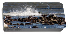 Waves Wind And Whitecaps Portable Battery Charger by John Telfer
