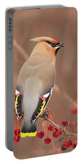 Waxwing In Winter Portable Battery Charger
