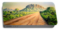 Portable Battery Charger featuring the painting Way To Maralal by Anthony Mwangi