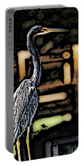 Portable Battery Charger featuring the digital art Wc Great Blue by David Lane