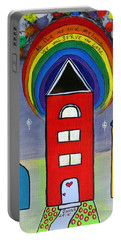We Choose To Serve - Original Whimsical Folk Art Painting Portable Battery Charger