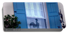 Portable Battery Charger featuring the photograph Charleston Weathervane Reflection by Kathy Barney