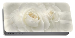 Wedding Day White Roses Portable Battery Charger by Jennie Marie Schell