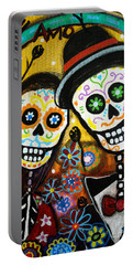 Portable Battery Charger featuring the painting Wedding Dia De Los Muertos by Pristine Cartera Turkus