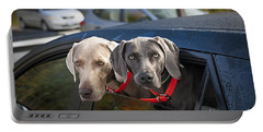 Weimaraner Dogs In Car Portable Battery Charger