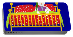 Portable Battery Charger featuring the digital art Welsh Snowman Bedtime  by Barbara Moignard