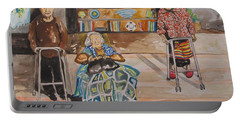 Portable Battery Charger featuring the painting We're Still Here by Esther Newman-Cohen