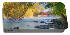 Portable Battery Charger featuring the photograph West Cornwall Covered Bridge Autumn by Bill Wakeley
