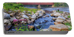 Portable Battery Charger featuring the photograph West Cornwall Covered Bridge Summer by Bill Wakeley