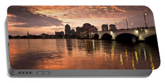 West Palm Beach Skyline At Sunset Portable Battery Charger